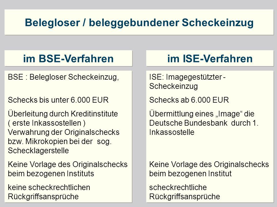 Belegloser / beleggebundener Scheckeinzug