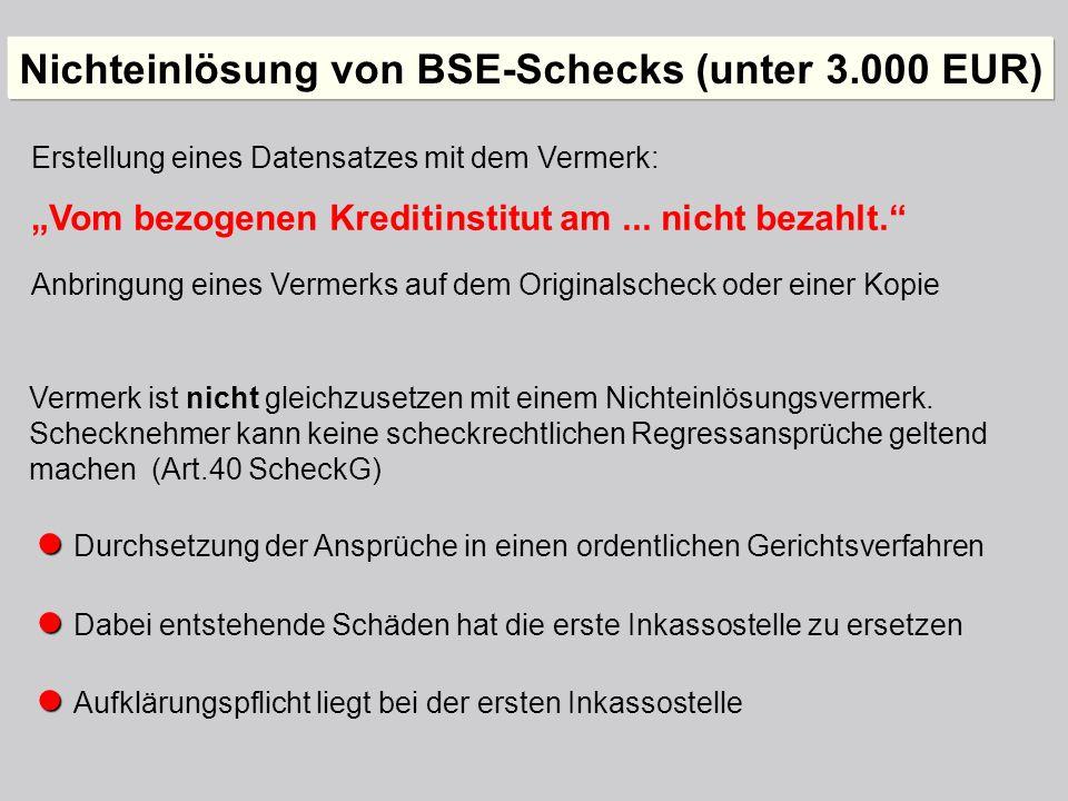 Nichteinlösung von BSE-Schecks (unter 3.000 EUR)