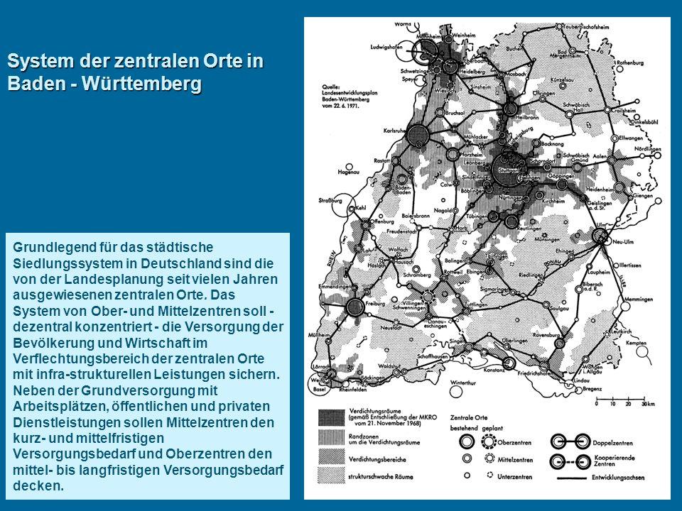 System der zentralen Orte in Baden - Württemberg