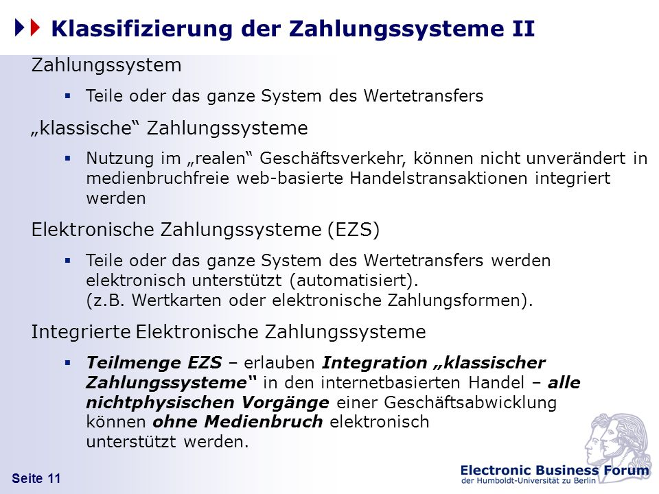 Klassifizierung der Zahlungssysteme II