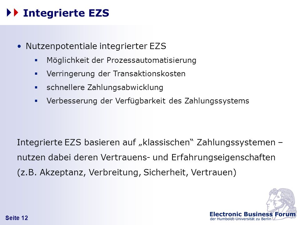 Integrierte EZS Nutzenpotentiale integrierter EZS