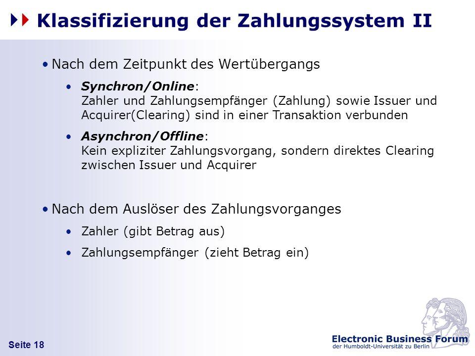 Klassifizierung der Zahlungssystem II