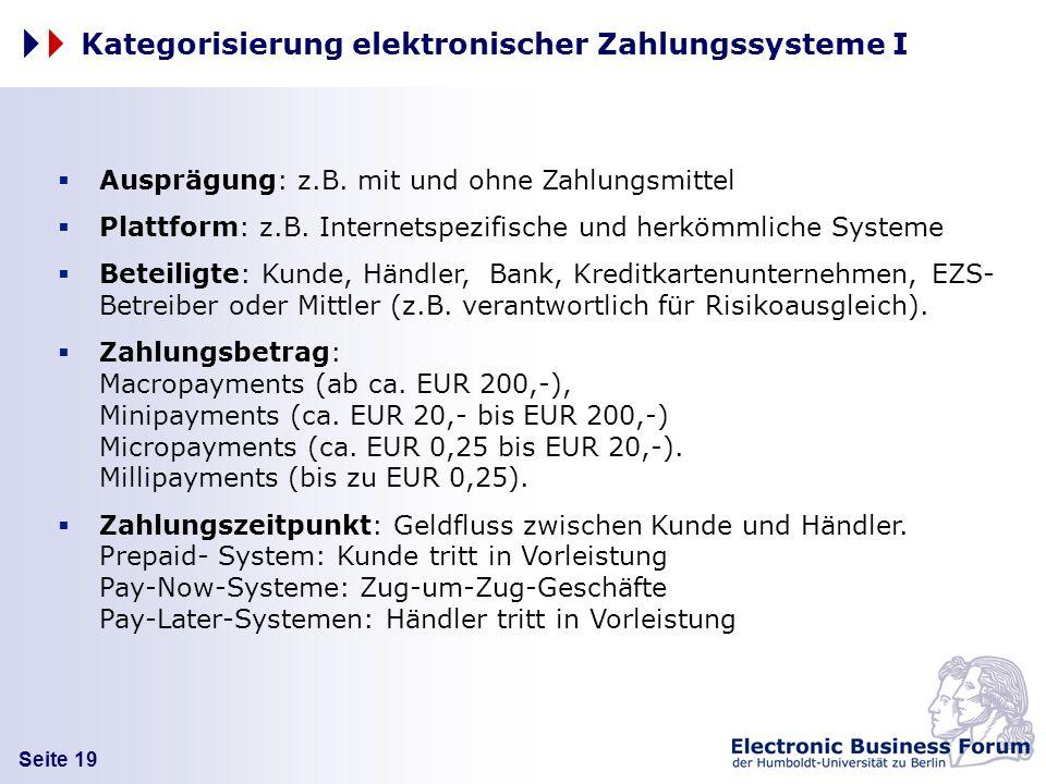 Kategorisierung elektronischer Zahlungssysteme I