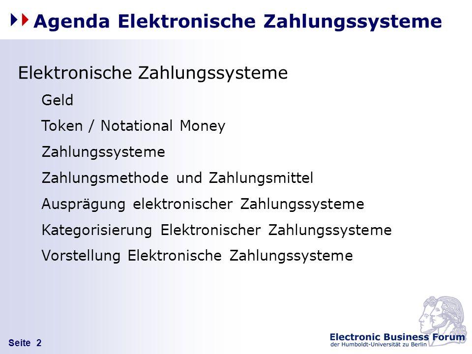 Agenda Elektronische Zahlungssysteme