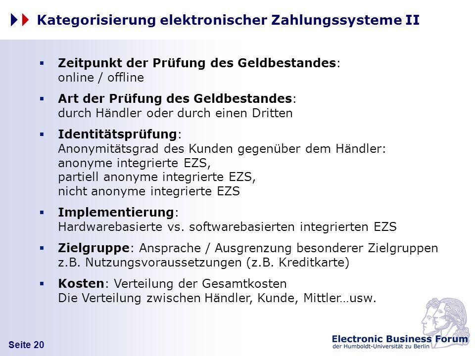 Kategorisierung elektronischer Zahlungssysteme II