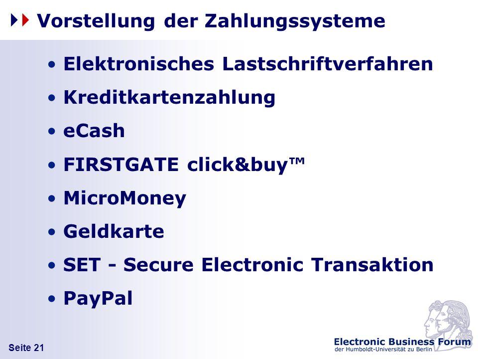 Vorstellung der Zahlungssysteme