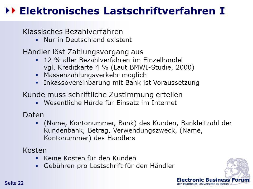 Elektronisches Lastschriftverfahren I