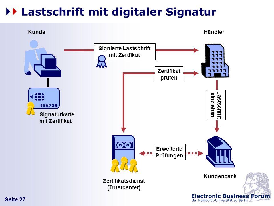 Lastschrift mit digitaler Signatur