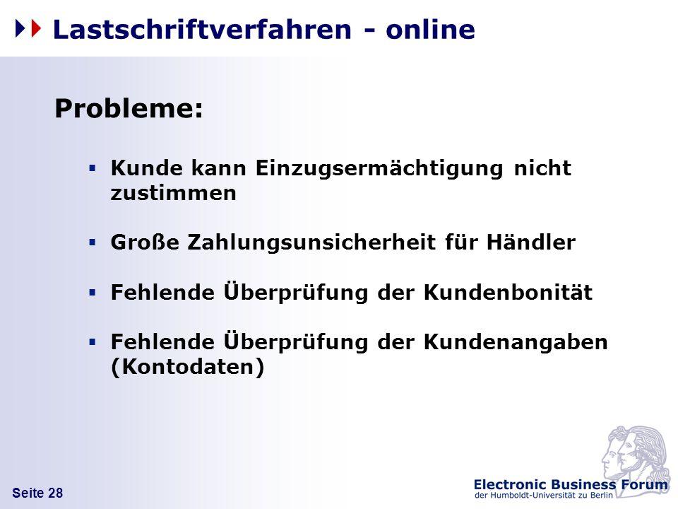 Lastschriftverfahren - online