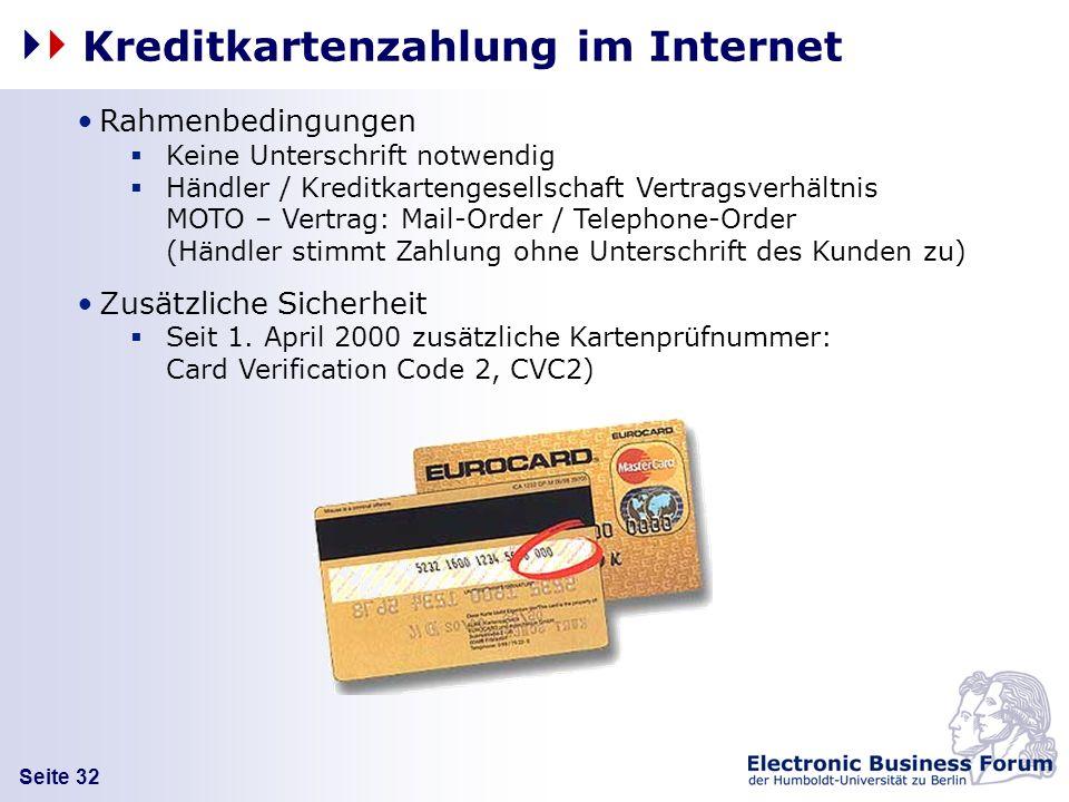 Kreditkartenzahlung im Internet