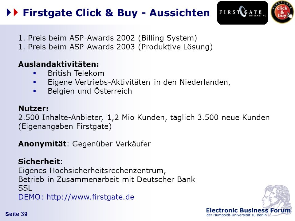 Firstgate Click & Buy - Aussichten