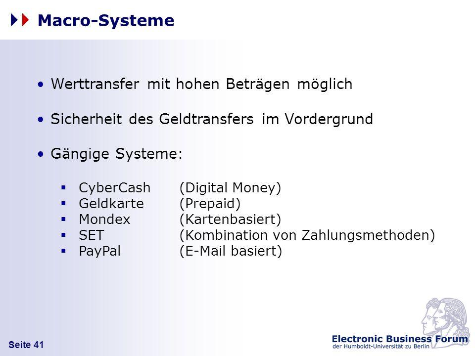 Macro-Systeme Werttransfer mit hohen Beträgen möglich