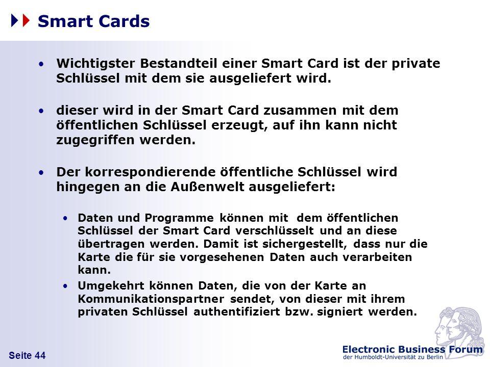 Smart Cards Wichtigster Bestandteil einer Smart Card ist der private Schlüssel mit dem sie ausgeliefert wird.