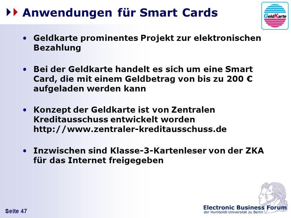 Anwendungen für Smart Cards
