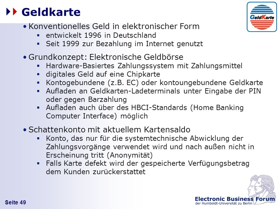 Geldkarte Konventionelles Geld in elektronischer Form
