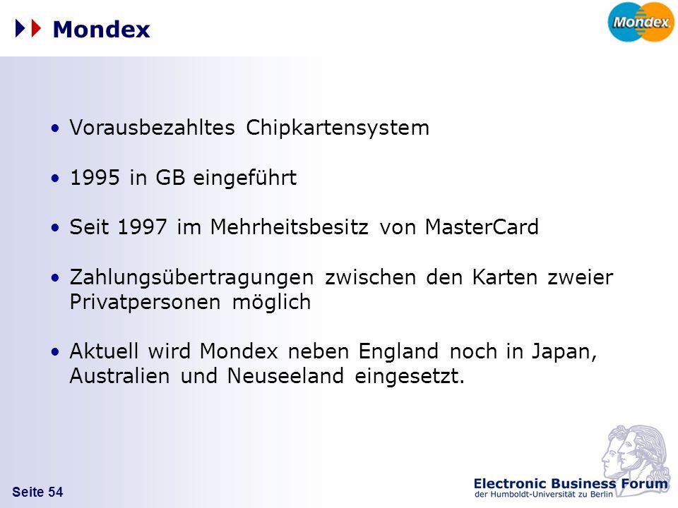 Mondex Vorausbezahltes Chipkartensystem 1995 in GB eingeführt