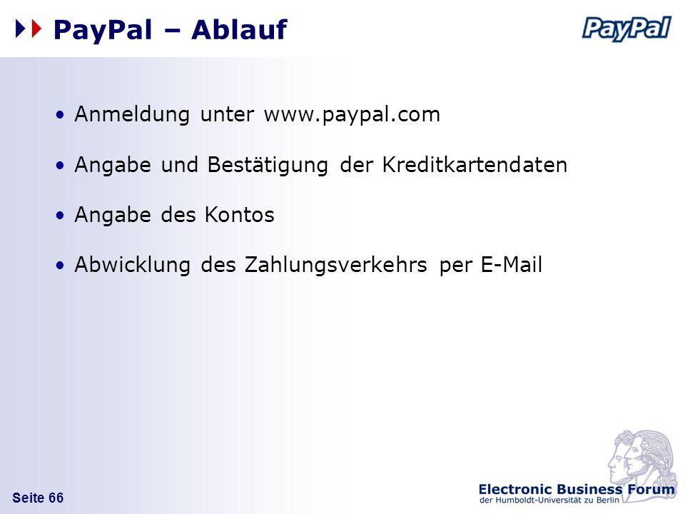 PayPal – Ablauf Anmeldung unter www.paypal.com