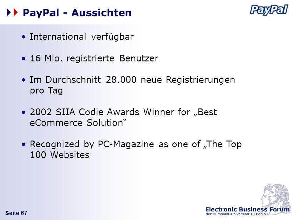 PayPal - Aussichten International verfügbar
