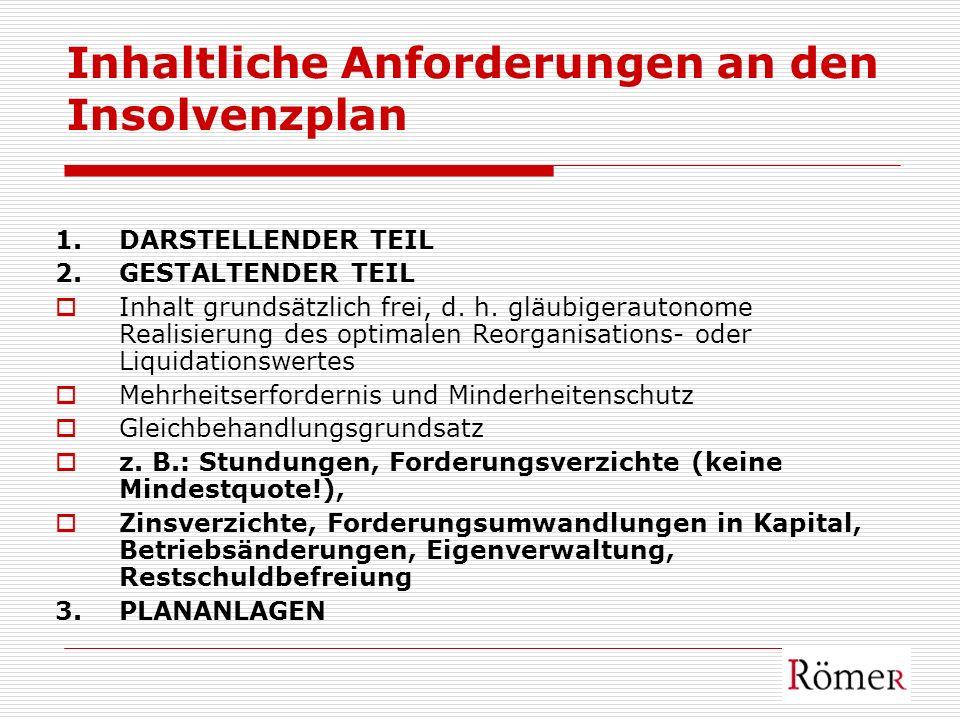 Inhaltliche Anforderungen an den Insolvenzplan