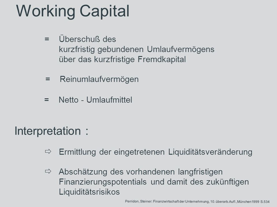 Working Capital Interpretation :