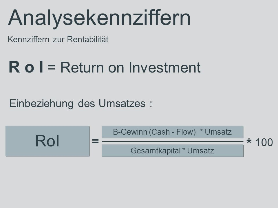 * 100 Analysekennziffern R o I = Return on Investment RoI =