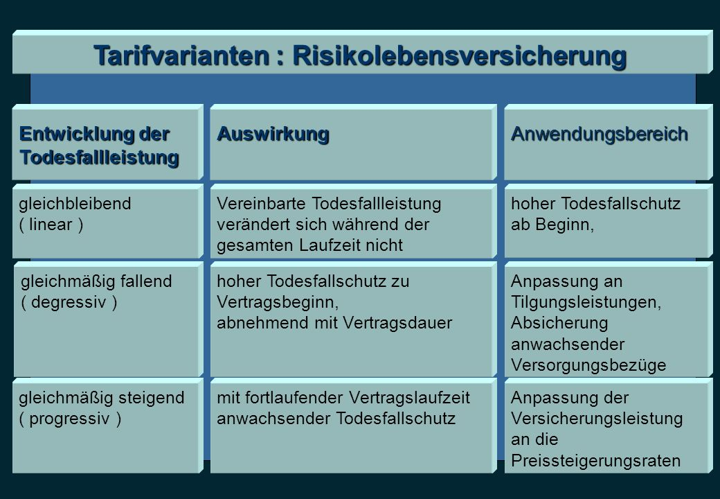 Tarifvarianten : Risikolebensversicherung