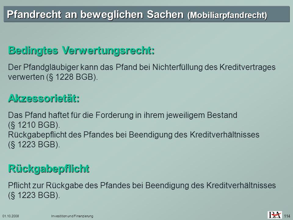 Pfandrecht an beweglichen Sachen (Mobiliarpfandrecht)
