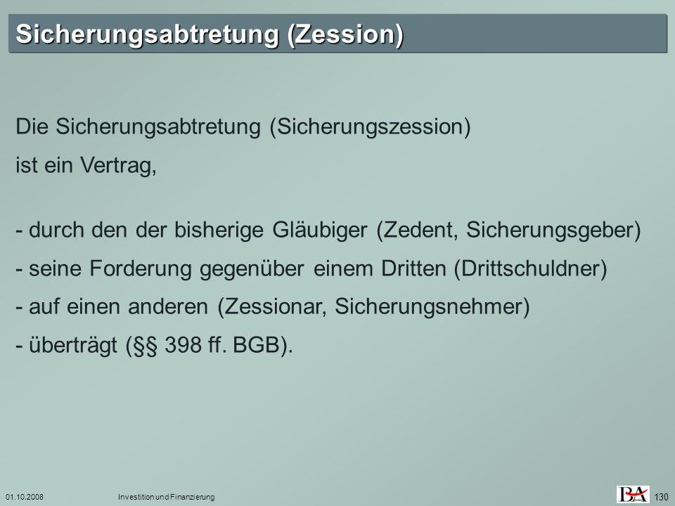 Sicherungsabtretung (Zession)