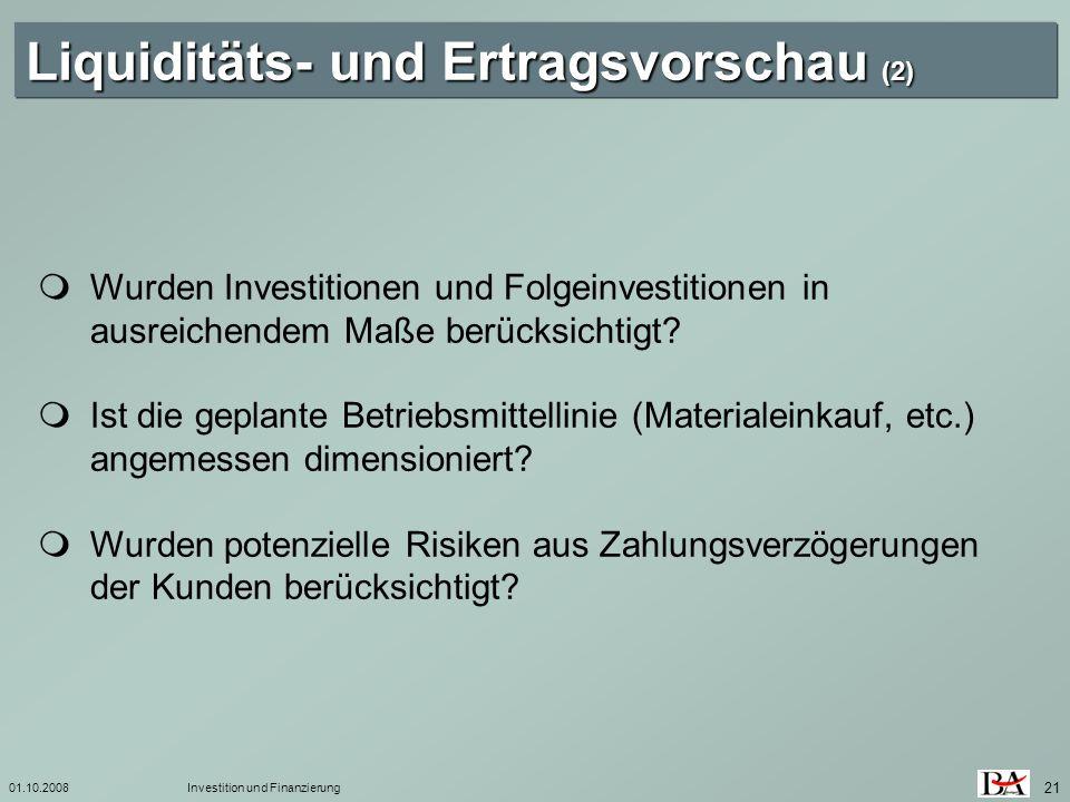 Liquiditäts- und Ertragsvorschau (2)