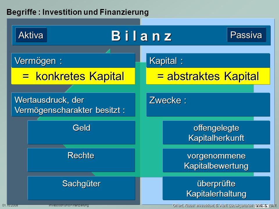 B i l a n z = konkretes Kapital = abstraktes Kapital Aktiva Passiva