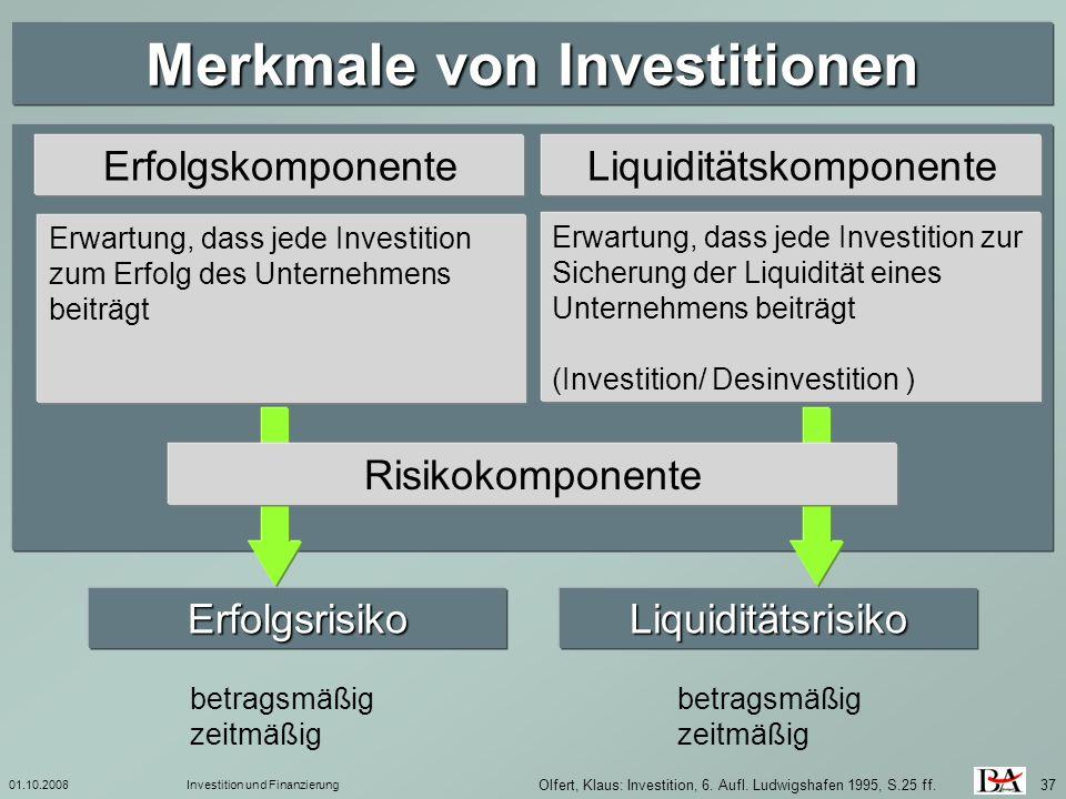 Merkmale von Investitionen
