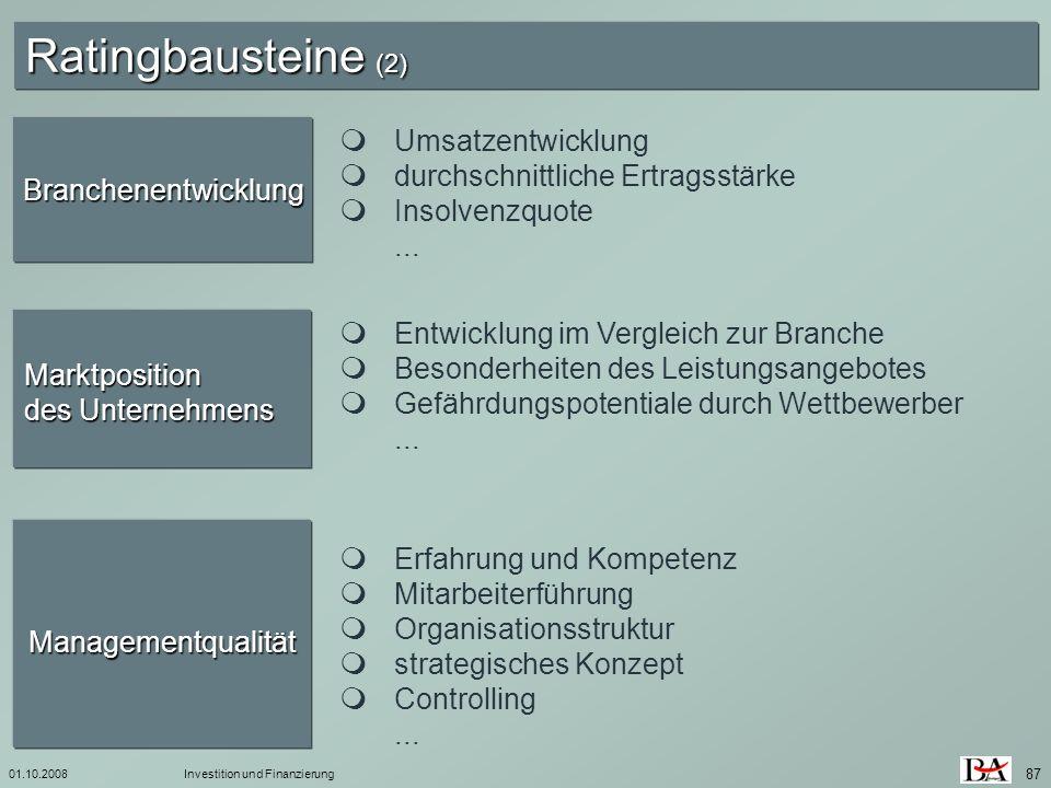 Ratingbausteine (2)  Umsatzentwicklung