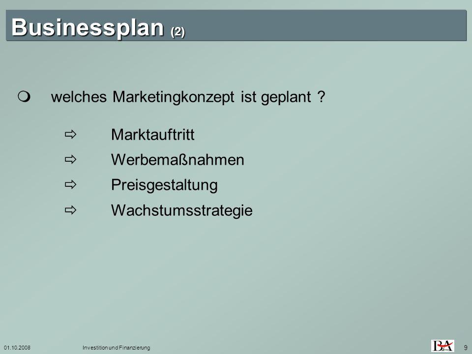 Businessplan (2)  welches Marketingkonzept ist geplant