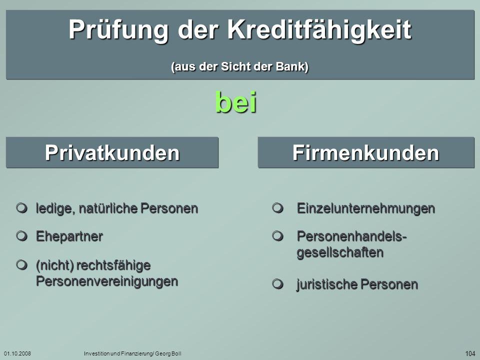 Prüfung der Kreditfähigkeit (aus der Sicht der Bank)