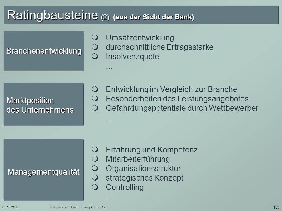 Ratingbausteine (2) (aus der Sicht der Bank)