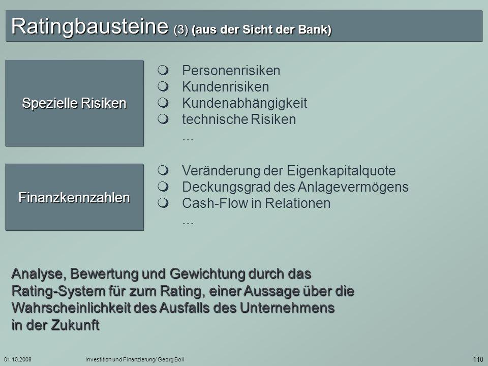 Ratingbausteine (3) (aus der Sicht der Bank)