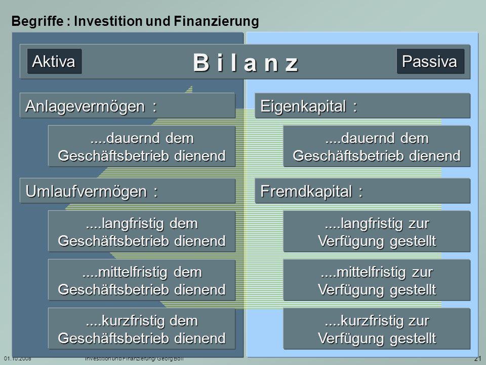 B i l a n z Aktiva Passiva Anlagevermögen : Eigenkapital :