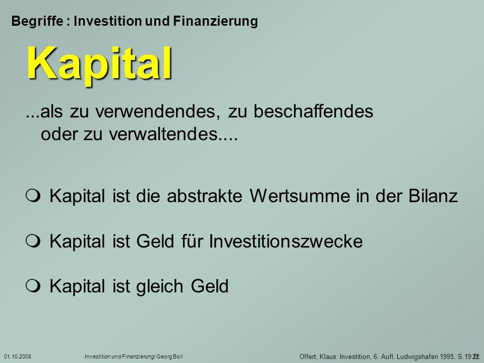 Begriffe : Investition und Finanzierung