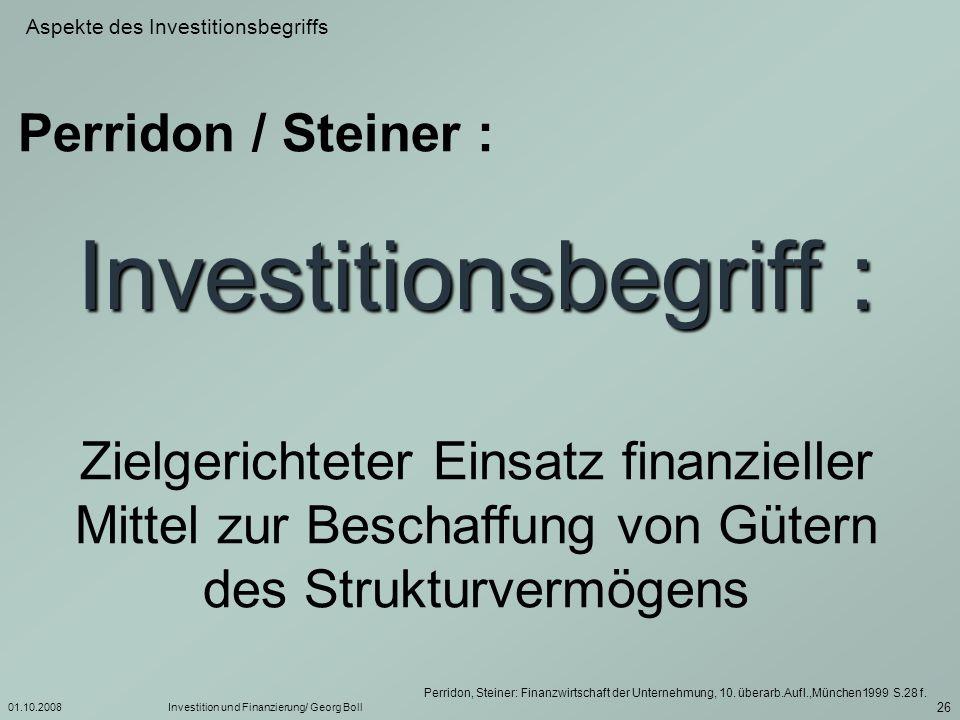 Investitionsbegriff :