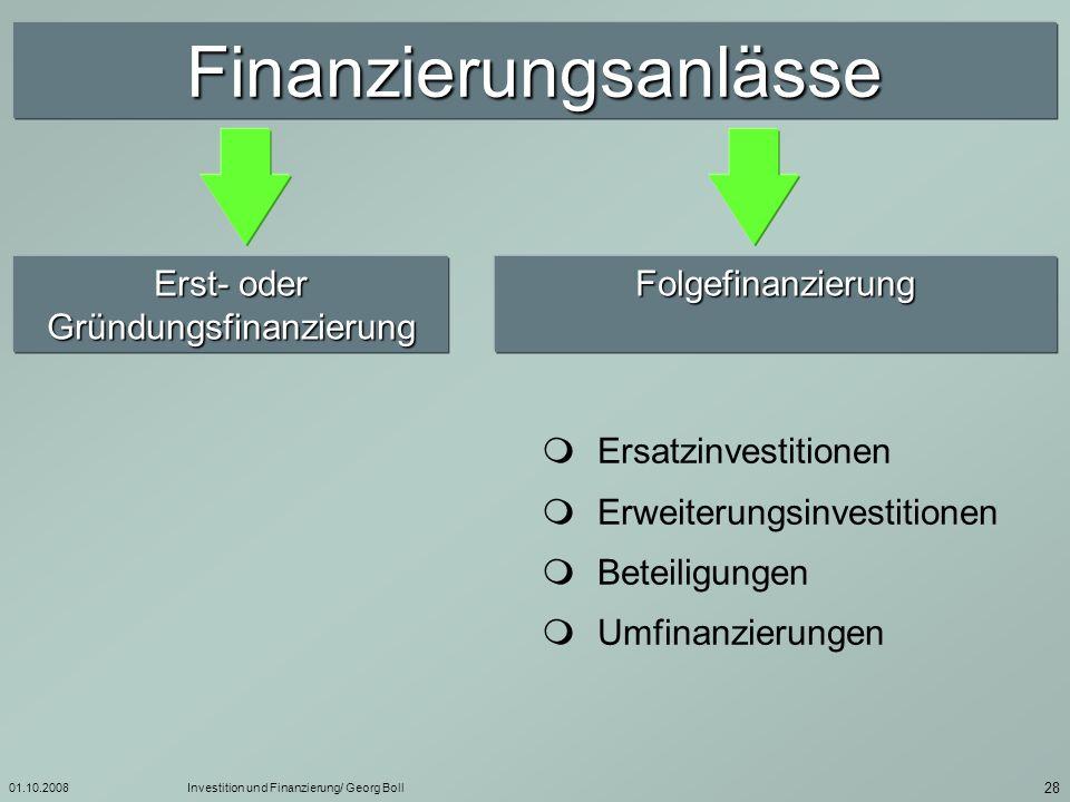 Finanzierungsanlässe