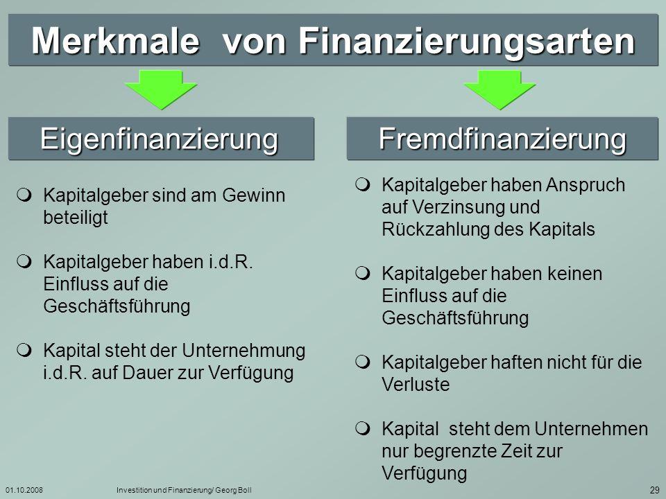 Merkmale von Finanzierungsarten
