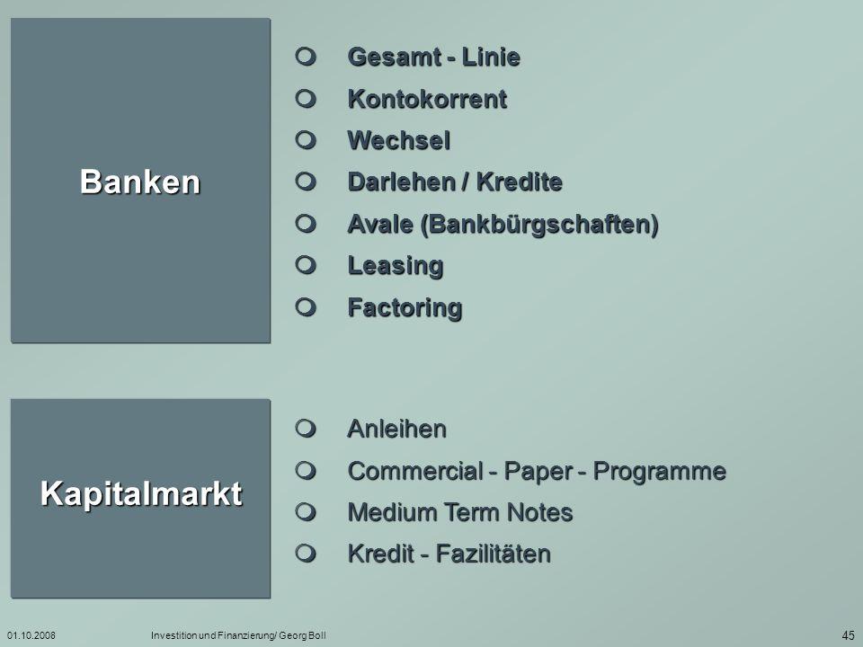 Banken Kapitalmarkt  Gesamt - Linie  Kontokorrent  Wechsel