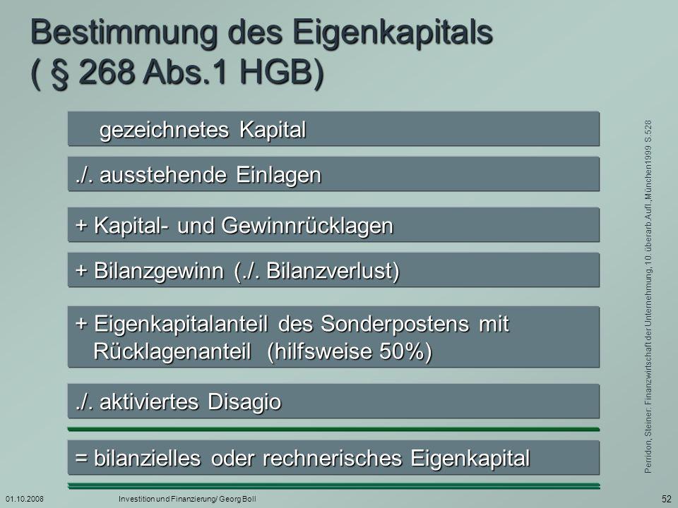 Bestimmung des Eigenkapitals ( § 268 Abs.1 HGB)