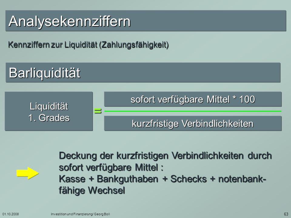 Analysekennziffern Barliquidität = sofort verfügbare Mittel * 100