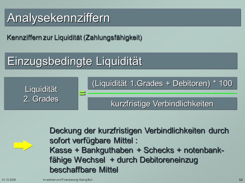 Analysekennziffern Einzugsbedingte Liquidität =