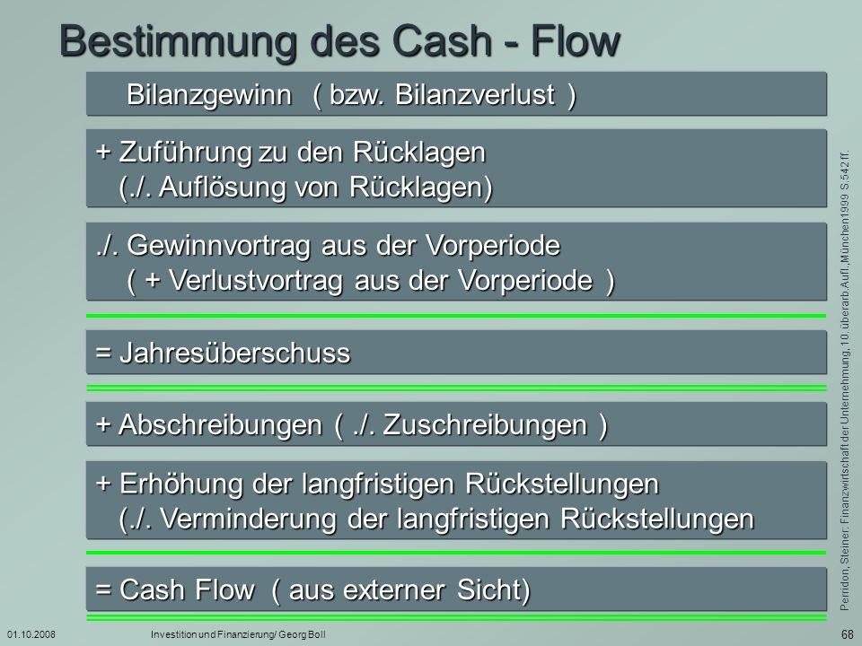 Bestimmung des Cash - Flow
