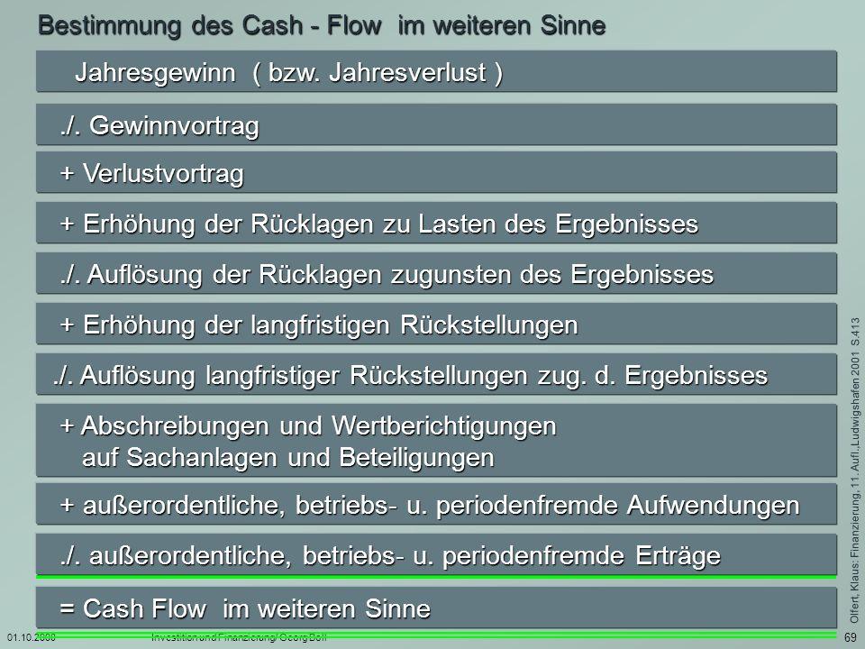 Bestimmung des Cash - Flow im weiteren Sinne