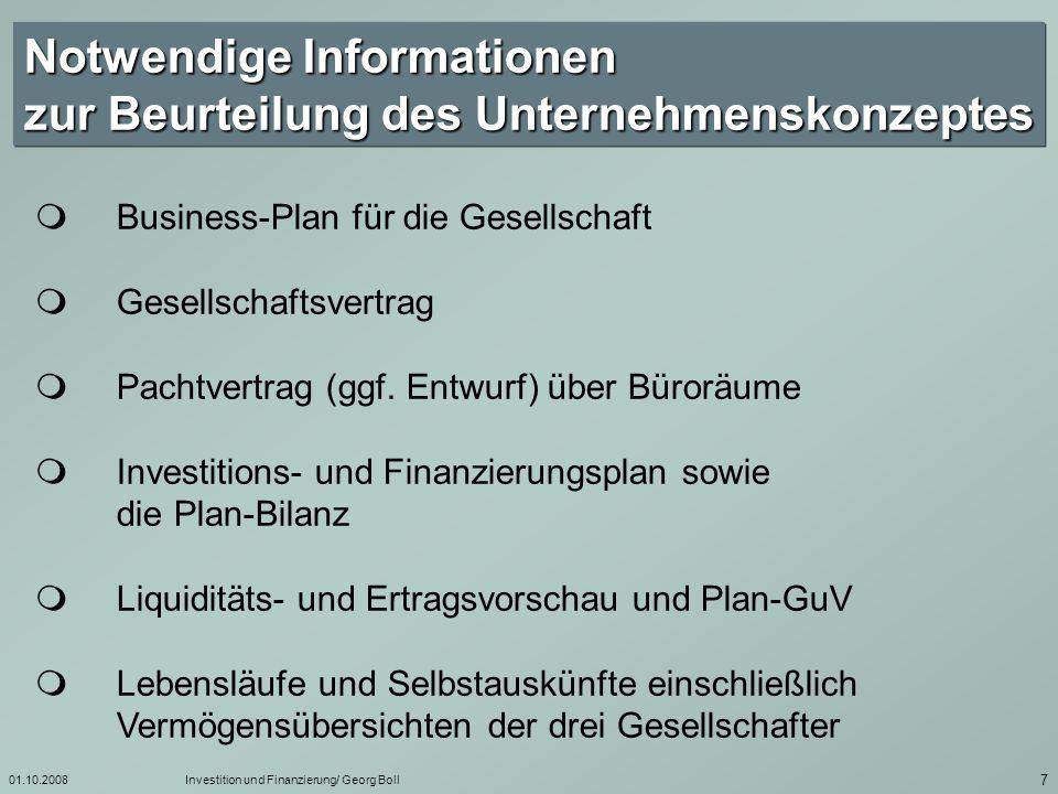 Notwendige Informationen zur Beurteilung des Unternehmenskonzeptes