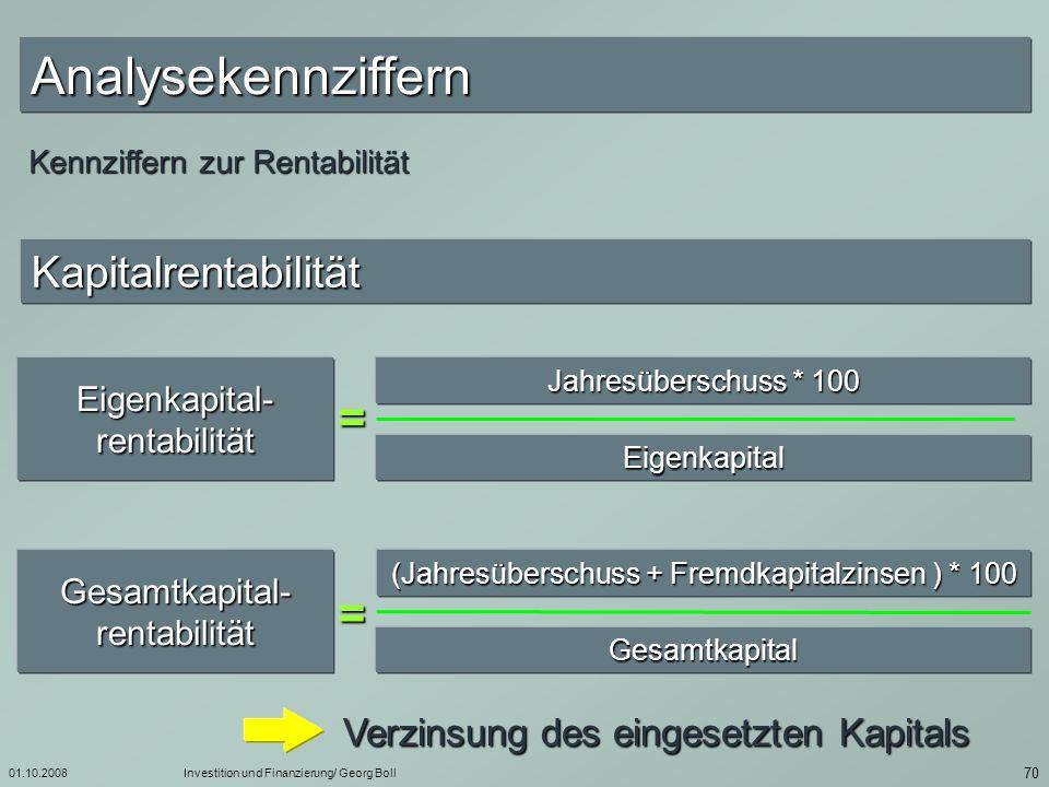 Analysekennziffern = = Kapitalrentabilität