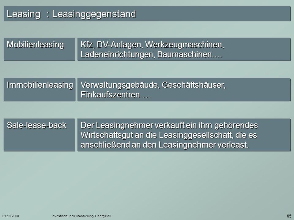 Leasing : Leasinggegenstand